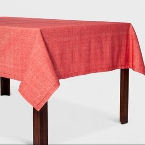 Oblong Threshold Chambray Hemstitch Red Tablecloth